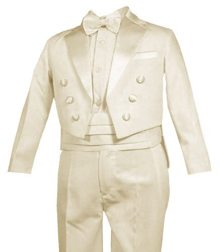 New Ring Bearer Boys Tuxedo Tail Suit Tux Set IVORY From Baby to Teen (4)