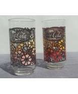 Pair of Flower Patterned Coke Glasses - Circa 1970s -- Highly collectible - $35.00