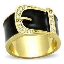 Women's Gold Tone Black Belt Buckle Style Crystal Ring - SIZE 8 - $11.68