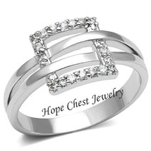 Women's Silver Tone Pave Setting Cubic Zirconia Fashion Ring   Size 5, 6 - $13.49