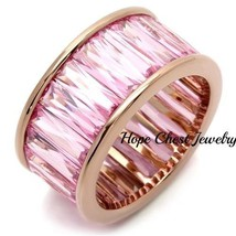 Women's Rose Gold Tone Baguette Cut Pink Cz Wide Eternity Band Ring Size 9 - $42.49