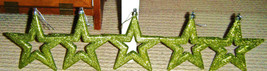 5 Christmas Stars Hanging Ornaments Metallic /Glittler Green / Chartreus... - $7.93