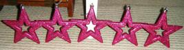 5 Christmas Stars Hanging Ornaments Metallic /Glittler PINK / FUSCHIA SHADE - $7.93
