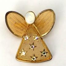 Vtg Angel Rhinestone Pin Costume Jewelry Gold Mesh Lapel Wing Figure Stars - $11.06