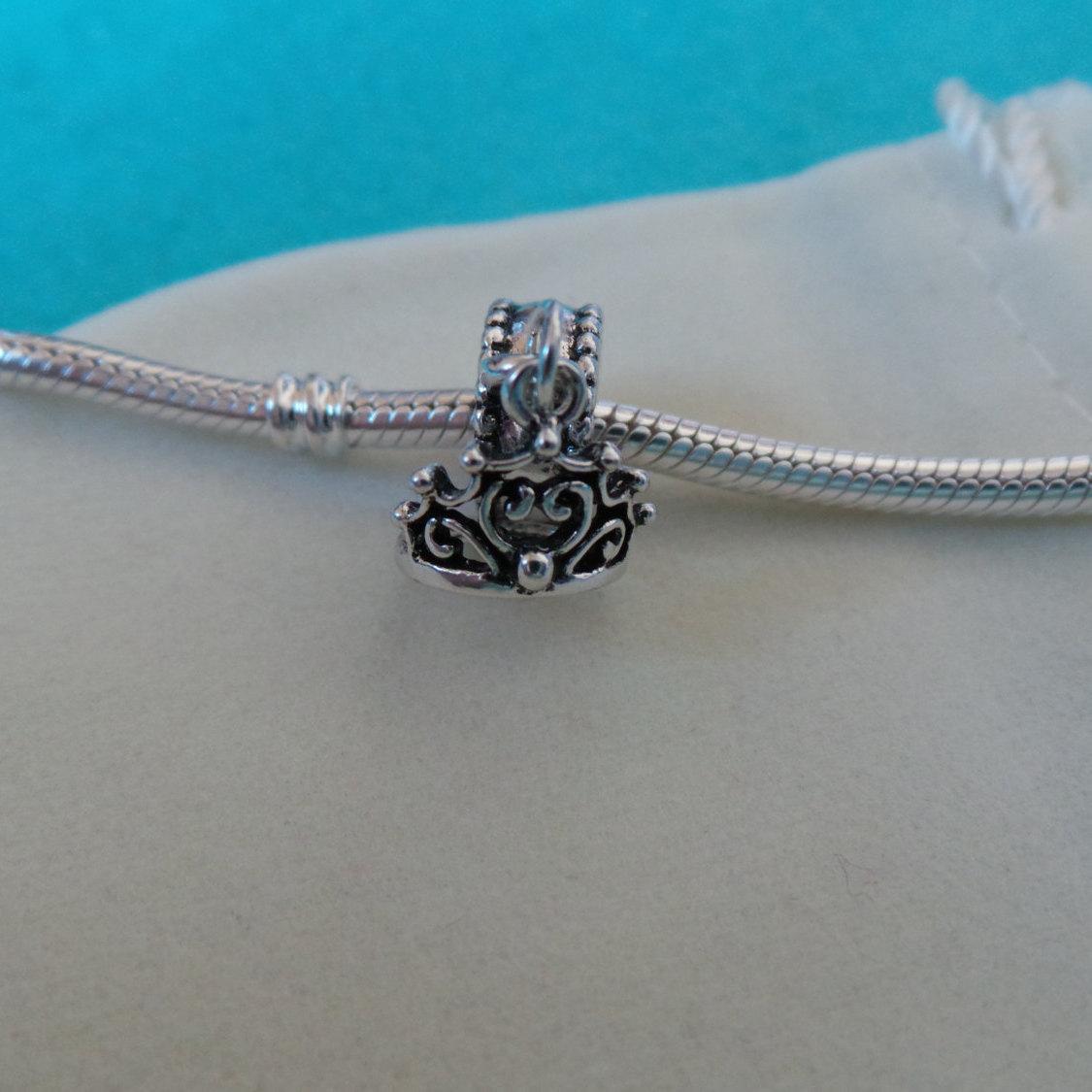 NEW Disney Princess Theme Dangle Charm - Ariel's Tiara Crown, silver plate + BAG