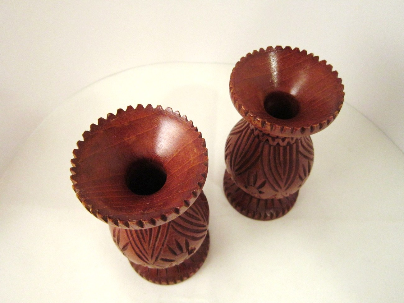 Hand Turned and Carved Wood, Set of 2 Candle Holders for Tapers