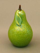 Orient & Flume Iridescent Art Glass Pear Paperweight - $89.00