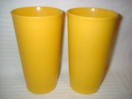 """Lot 2 Vintage Tupperware BRIGHT YELLOW Tumblers 5 1/4"""" Tall  Harvest 12o... - $19.99"""