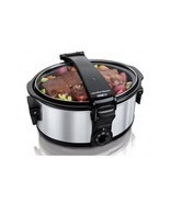 Slow Cooker Crock Pot Portable Food Recipe Chef Kitchen 6 Quart Tailgati... - £66.16 GBP