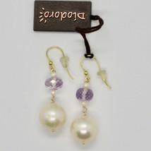 Boucles D'Oreilles en or Jaune 18K 750 Perles Eau Douce et Améthyste Rose Italy image 2