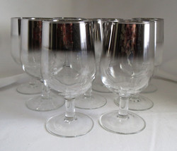 9 MCM Vitreon Queens Lusterware Silver Ombre Fade Stemmed Wine Goblets G... - $43.65