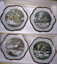 Plates/Lot of 4 Porcelain Currier & Ives Collector  plates w/ Winter sce... - $24.74