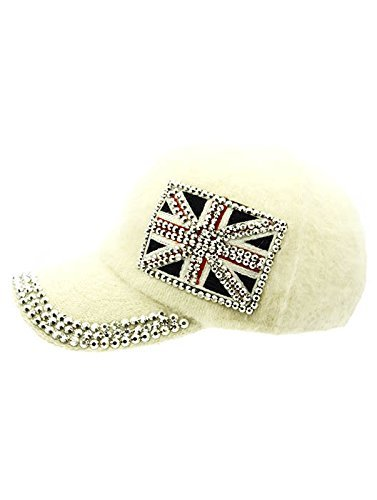 British Flag Soft Furry Hat Metallic Stud Bling Great Britain (White)