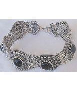 Round onyx silver bracelet  - $125.00