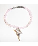 Quarzite Round & Glass Beads Stretch Bracelet, Pink, Silvertone Fairy Charm - $0.00