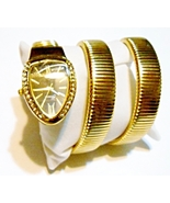 Goldtone Metal Coil Snake Watch With Crystal Bezel, Water Resistant - FR... - $17.99