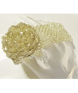 Gold Seed Bead Bracelet with Rose Center & Toggle Closure - Freebie W/ Purchase - Freebie
