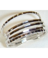5 LASER CUT STACK BAND RINGS, 925 NICKEL FREE STERLING SILVER, SIZE 8 - $11.69