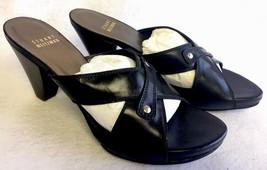 Stuart Weitzman Platform Heels Slides Sandals Black Leather Criss Cross 7.5 N AA - $59.99