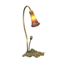 "Meyda Home Indoor Decorative 16""H Amber/Purple Pond Lily Accent Lamp- 12... - £75.40 GBP"
