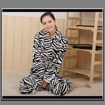 Soft Fleece Lovers Women or Men's Zebra Striped Luxury Lounger Beach Bath Robes  image 1