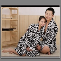 Soft Fleece Lovers Women or Men's Zebra Striped Luxury Lounger Beach Bath Robes  image 2