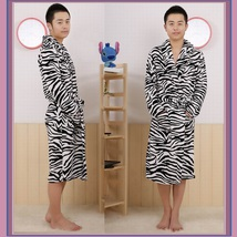Soft Fleece Lovers Women or Men's Zebra Striped Luxury Lounger Beach Bath Robes  image 3