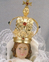 Infant Jesus of Prague - 9 inch Statue with Red Satin Gowned - $106.65