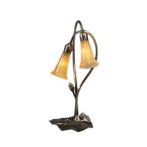 "Meyda Home Indoor Decorative 16""H Amber Pond Lily 2 Lt Accent Lamp - 123... - £93.12 GBP"