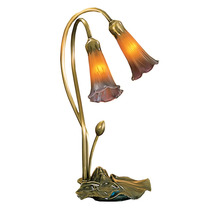 "Meyda Home Indoor 16""H Amber/Purple Pond Lily 2 Lt Accent Lamp - 1235-13008 - $120.20"