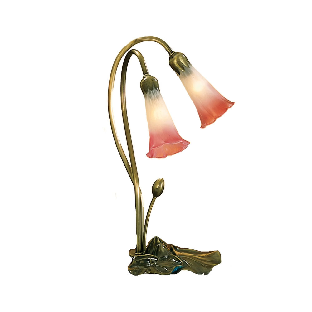 "Meyda Home Indoor 16""H Pink/White Pond Lily 2 Lt Accent Lamp - 1235-14170"