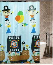 PIRATE & SHIP Cute Cartoon Design 180 x 180 cm Daily Bathing Use SHOWER ... - $23.99