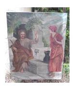Large Antique Religious Jesus & Samaritan Woman At Well Oil On Canvas Pa... - $250.00