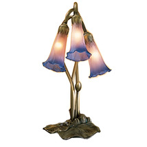 "Meyda Home Indoor 16""H Pink/Blue Pond Lily 3 Lt Accent Lamp - 1235-14670 - £101.85 GBP"