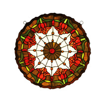 """Meyda Home 18""""Wx18""""H Colonial Tulip Medallion Stained Glass Window - 123... - $287.28"""