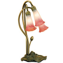 "Meyda Home Indoor 16""H Pink/White Pond Lily 3 Lt Accent Lamp - 1235-14813 - £114.55 GBP"