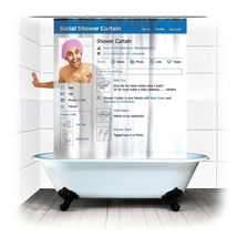 Social Media Page Cool Design 1.8 X 1.8 M Polyester Bathroom Use Shower Curtain - $23.99