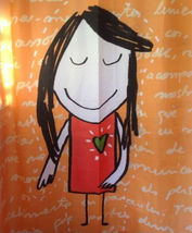 Cute Little Girl Design Orange Color 180 X 180 Cm Bathroom Use Shower Curtain - $29.99