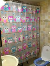 Cartoon OWL Colorful Design 1.8x1.8m Bathroom Shower Use PEVA SHOWER CUR... - $26.99