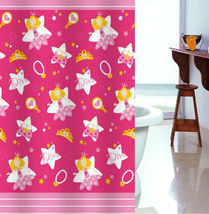PRINCESS PINK Design 180 x 180 cm POLYESTER Bathroom Use SHOWER CURTAIN SET - $26.99