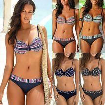 Women Boho Push Up Bra Bikini Set Summer Swimsuit Swimwear image 2