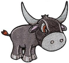 Wild water buffalo bull embroidered applique iron-on patch S-1522 - $2.95