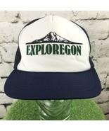 Exploregon Navy Blue Trucker Hat Mesh SnapBack Vintage - $19.79