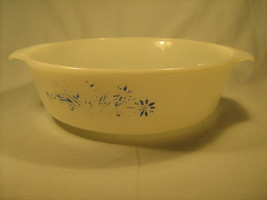 [Y13] Vintage Anchor Hocking FIRE KING 2 Quart Casserole Dish with Blue ... - $7.68