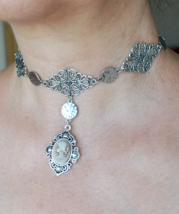 Silver choker with Cameo, Cameo choker, Gothic choker, Gothic necklace, 750 - $22.99