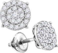 10k White Gold Womens Round Diamond Concentric Circle Cluster Earrings 1.00 Cttw - $719.00