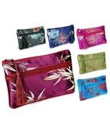 "SILK WALLET 7"" Double Pouch Zipper Soft Brocade Fabric Bag Coin Purse Ph... - $7.95"