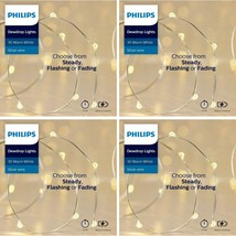 4x Philips 30ct Christmas LED Dewdrop Lights 4 Function Battery Operated White J