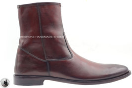 Bespoke Handmade Men's Brown Leather Zipper Ankle High Formal Dress Boots - €194,41 EUR