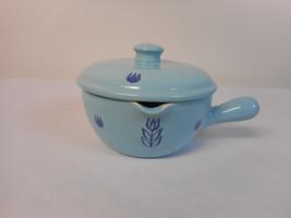 Vintage Bake Oven USA Cronin Blue Tulip Bowl With Lid Handle & Spout - $18.62